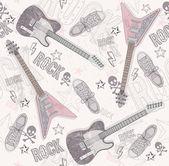 かわいいグランジ抽象的なパターン。ギターと、翔のシームレスなパターン — ストックベクタ