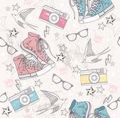 かわいいグランジ抽象的なパターン。シームレスなパターン、靴の写真 — ストックベクタ