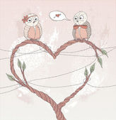 Valentine's day card. Cute bird in love. Heart shape branch. — Stok Vektör