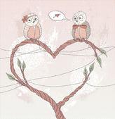 Valentine's day card. Cute bird in love. Heart shape branch. — Stock Vector