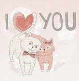 Valentine's day card. Cute cats in love. Cats with heart shape tails. — Stok Vektör