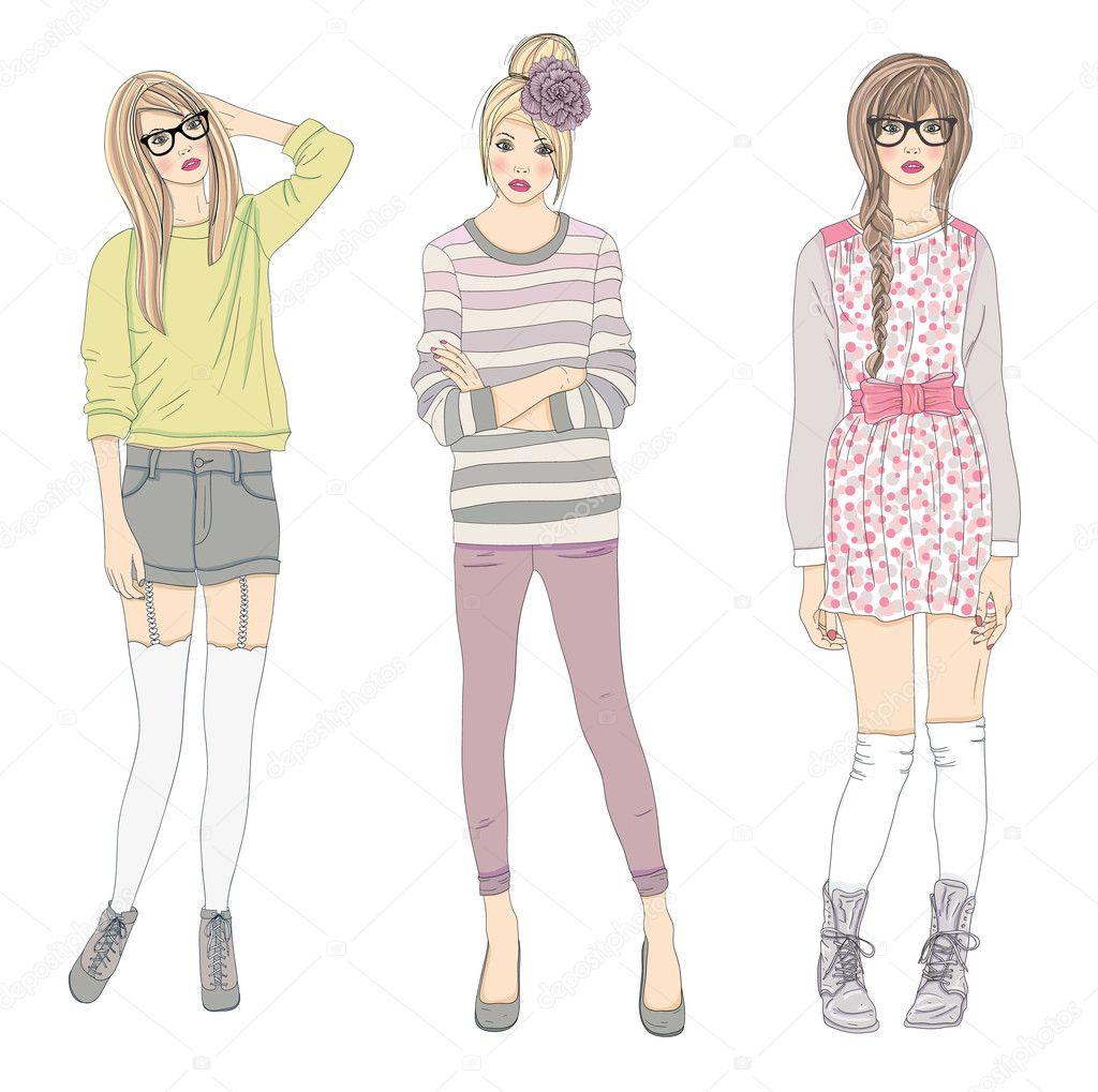 Young Fashion Girls Illustration Vector Illustration