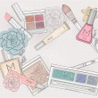 Stockvector : Makeup and cosmetics background. Background with makeup elements