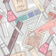 Stockvector : Seamless makeup and cosmetics pattern.