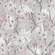 Seamless cherry blossom flowers pattern. Abstract floral pattern — Stockvectorbeeld