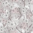 Seamless cherry blossom flowers pattern. Abstract floral pattern — Image vectorielle