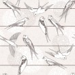 Abstract seamless pattern. Bird on the wires. — 图库矢量图片
