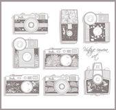 Retro photo cameras set. Vintage cameras. — Stock Vector