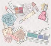 Make-up en cosmetica achtergrond. achtergrond met make-up elementen — Stockvector