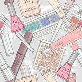 Seamless makeup and cosmetics pattern. — Stockvektor