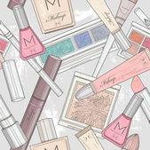 Sömlös smink och kosmetika mönster. — Stockvektor