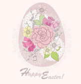 Easter egg. Easter card with floral pattern. — Stock Vector