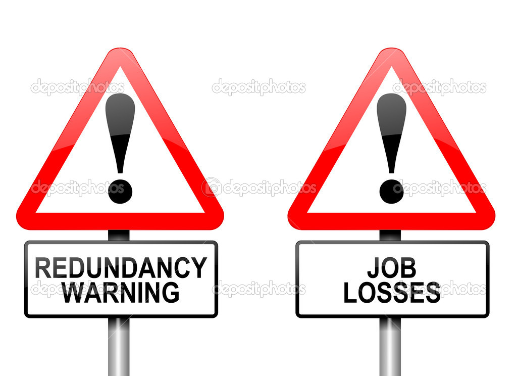 Illustration depicting two triangular warning road signs with a redundancy concept. White background. — Stock Photo #10093894