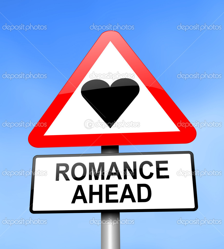 Illustration depicting red and white triangular warning road sign with a romance concept. Blue blurred background. — Stock Photo #10230666