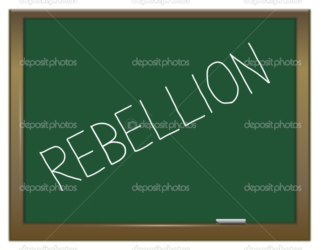 Illustration depicting a green chalkboard with the word 'rebellion'.  Stock Photo #10256052