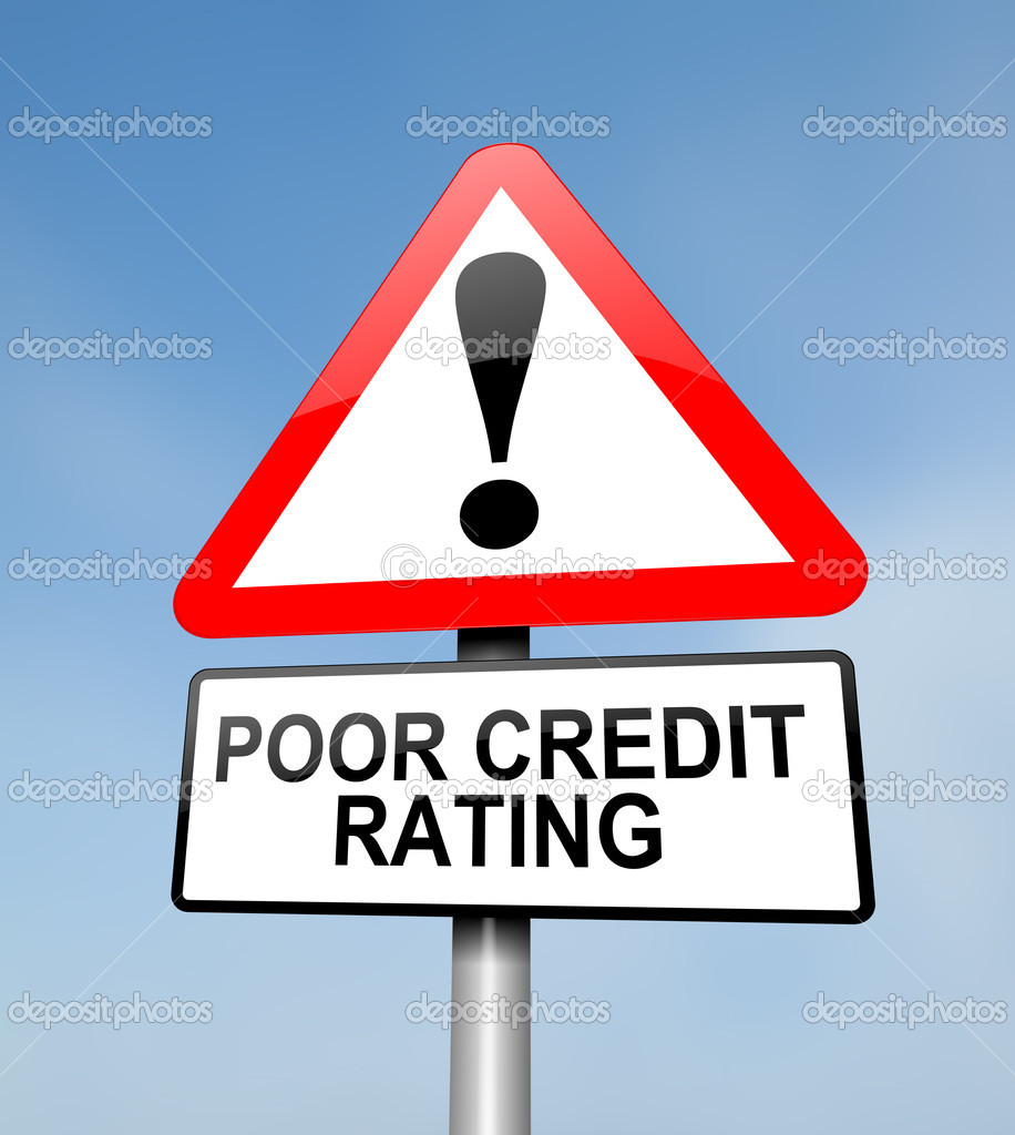 Illustration depicting a red and white triangular warning sign with a credit rating concept. Blurred sky background. — Stock Photo #10355156
