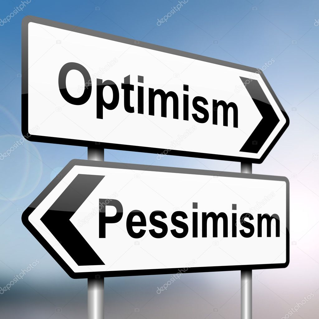Illustration depicting a sign post with directional arrows containing a pessimist or optimist concept. Blurred background. — Stock Photo #10421403