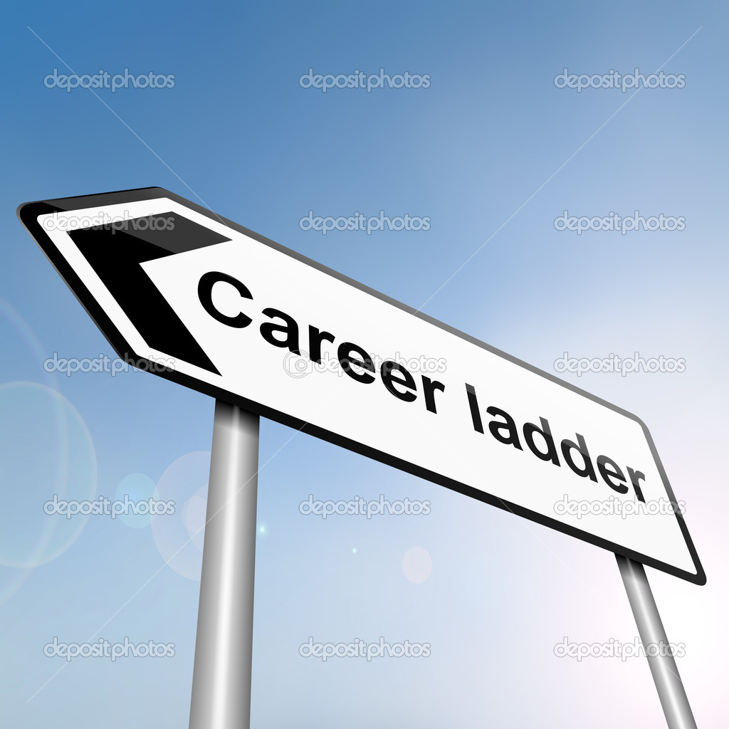 Illustration depicting a sign post with directional arrow containing a career ladder concept. Blurred background. — Stock Photo #10421469