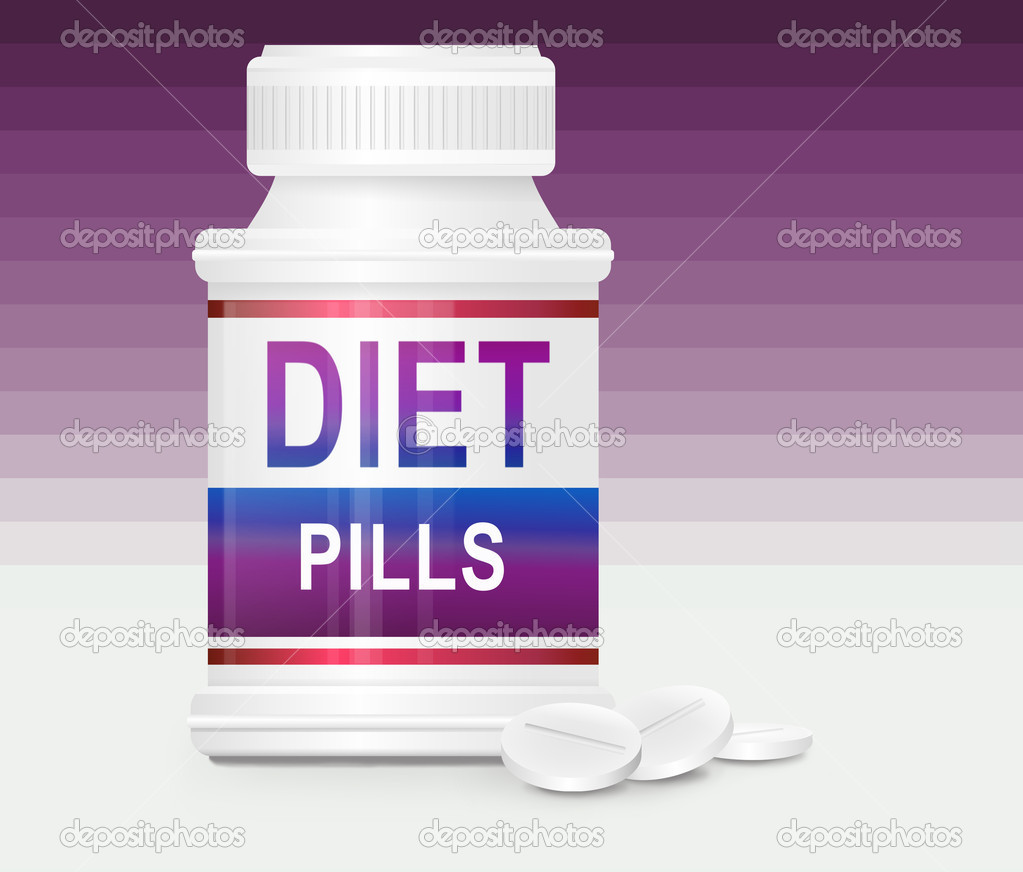 Illustration depicting a single medication container with the words 'diet pills' on the front with purple gradient stripe background and a few tablets in the fo — Stock Photo #8991067