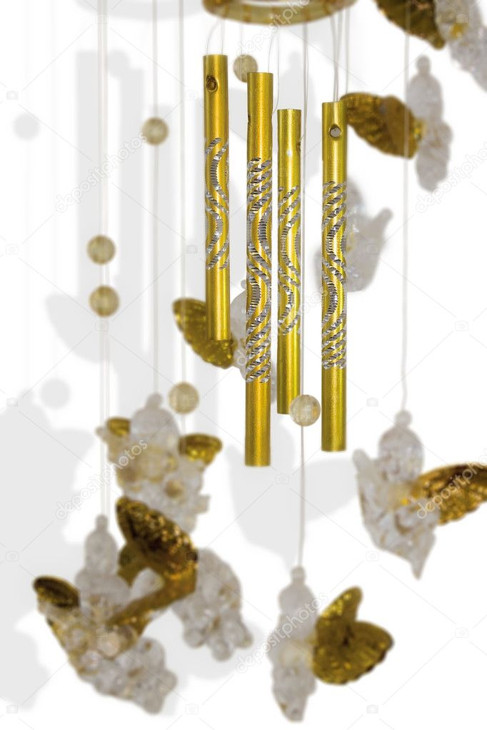 Wind chime with little angels isolated on white  Stock Photo #8008048