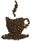 Cup of coffee shape made with coffee beans — Stock Photo