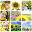 Summer collage with sunflowers and  faces — Stock Photo