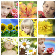 Floral collage with flower and closeup faces — Stock Photo #8457801