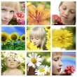 Floral collage with flower and closeup faces — Stock Photo