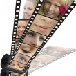 Shot with different parts of faces of emotions on a filmstrip — Stock Photo