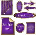 Vector set of violet and golden framed labels — Stock Vector