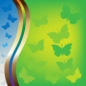 Raster version of summer background with butterflies — Stock Photo