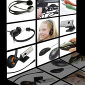 Collage with computer equipment on black background — Stock Photo