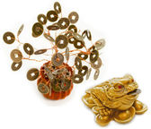 Chinese Feng Shui Frog with coins and money tree isolated on white — 图库照片