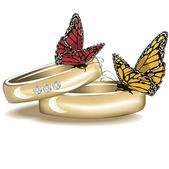 Wedding rings with butterflies isolated on white — Stock Photo