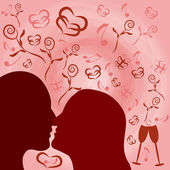 Romantic nostalgia illustration with silhouettes of man and woman — Stock Photo