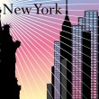 Stock Vector: New York Skyscrapers vector background with Statue of Liberty