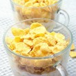 Two glass bowls of cereal and milk — Stock Photo #9281533