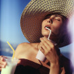 Girl drinking milk shakes — Stock Photo