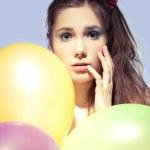 Gir with balloons — Stock Photo