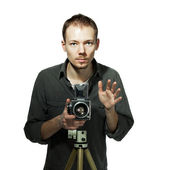 Guy with retro camera — Stockfoto