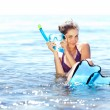 Girl with snorkel gear — Stock Photo