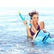 Stock Photo: Girl with snorkel gear