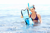 Girl with snorkel equipment — Stok fotoğraf