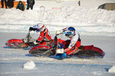 Speedway on ice, turn on a two motorcycle — Stock Photo
