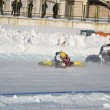 Stock Photo: Samara Ice Speedway, the collision of two riders