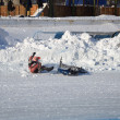 Samara Ice Speedway, the fall of the rider — Stock Photo