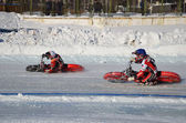 Ice Speedway, two athletes to rotation — Stock Photo