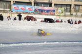 Samara Ice Speedway, the fall of the rider — Stock Photo