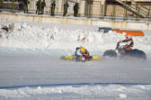 Samara Ice Speedway, the collision of two riders — Stock Photo