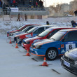 Cars at start of competition on ice track — Stock Photo #9003999